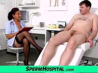 Old grandma doctor Linda pantyhose and young patient hj