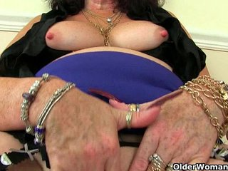 British grannies Zadi and Pearl in blossom with suspenders