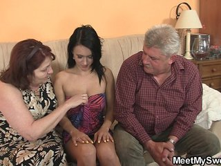 Innocent lady is seduceed by granny and fucked by daddy