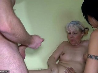 Old granny and Nice woman using belt cock