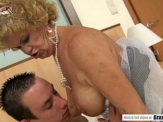 Granny's S/M Cunt Packed With Youthful Shaft
