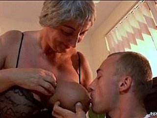 Big-titted granny needs young dick