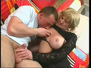 Blonde granny gets her vagina drilled by young dick