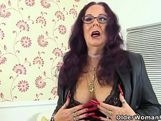 Hard nippled granny Zadi from the UK is giving her old fanny the dildo treatment. Bonus video: UK granny Georgie Nylons.
