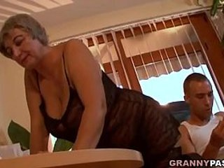 Busty Granny Tempts Youthfull Guy With Her Fat Tits