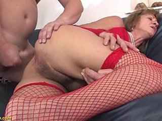 85 years old sadism granny in fishnet stockings enjoys her first tough anal lovemaking