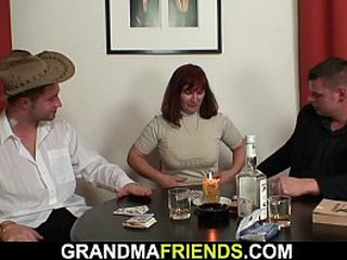 Sadism granny in captured blossom takes dual fuck