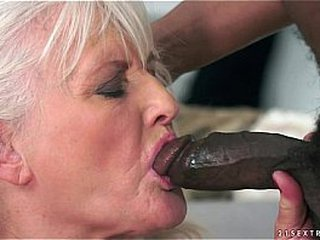 Granny topping a big black cock