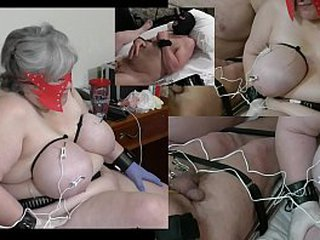 Granny has her udders dazed while a masculine victim gets his testicles also dazed
