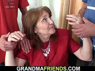 Hairy-pussy office granny dp