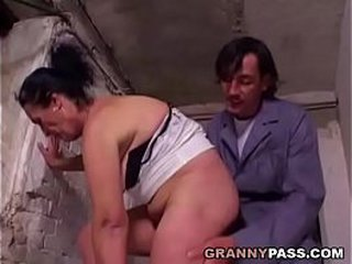Hairy Granny Preps For Anal invasion In A Cellar