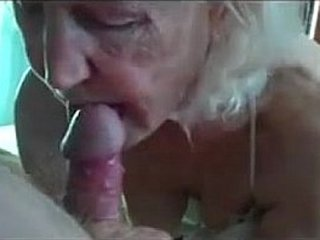 Ugly old granny sucking hard-on