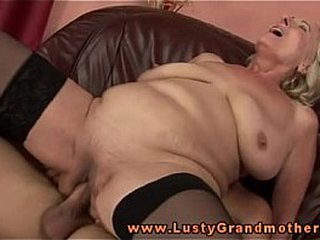 Ash-blonde mature granny in stockings bitchy