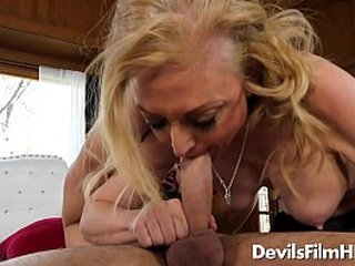 Big-titted granny fucks younger guy