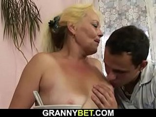 Sadism granny gives head and rails his young shaft