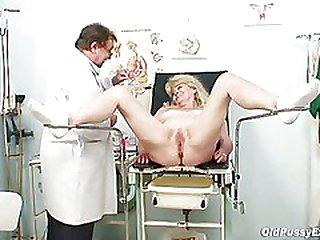 Light-haired grandma great beaver exam with enema