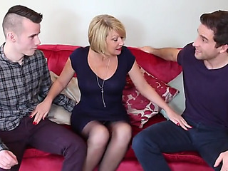 Hawt british mommy spunk overspread by youthfull sons