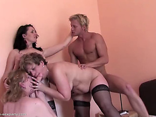 Taboo home sex with 3 aged mamas and son