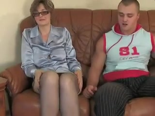 Aged granny in nylons fucking around with a man