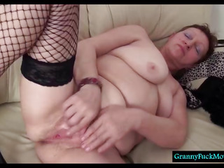 Dirty granny fingering her wooly old cunt