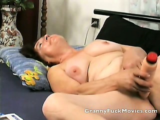 Granny toying her fresh shaven slit