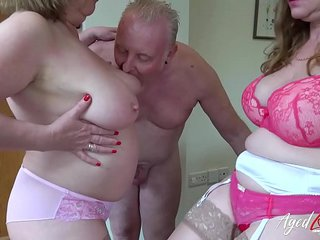 AgedLove Lily and Trisha in hard three way with bf