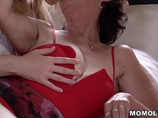 Old and lusty granny Pixie licking youthful vagina