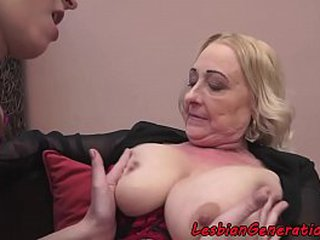 Younger Mummy and old granny lesbo masturbation