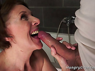 Grandma Deep throats Huge Dick and Gets Banged