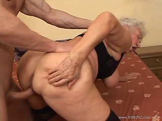 Breasty granny acquires screwed by a sexually excited dude